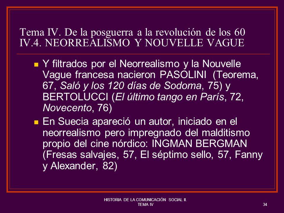 HISTORIA DE LA COMUNICACIÓN SOCIAL II. TEMA IV34 Tema IV. De la posguerra a la revolución de los 60 IV.4. NEORREALISMO Y NOUVELLE VAGUE Y filtrados po