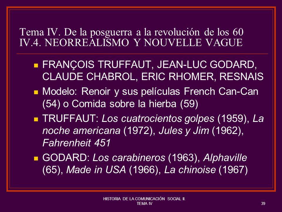 HISTORIA DE LA COMUNICACIÓN SOCIAL II. TEMA IV39 Tema IV. De la posguerra a la revolución de los 60 IV.4. NEORREALISMO Y NOUVELLE VAGUE FRANÇOIS TRUFF