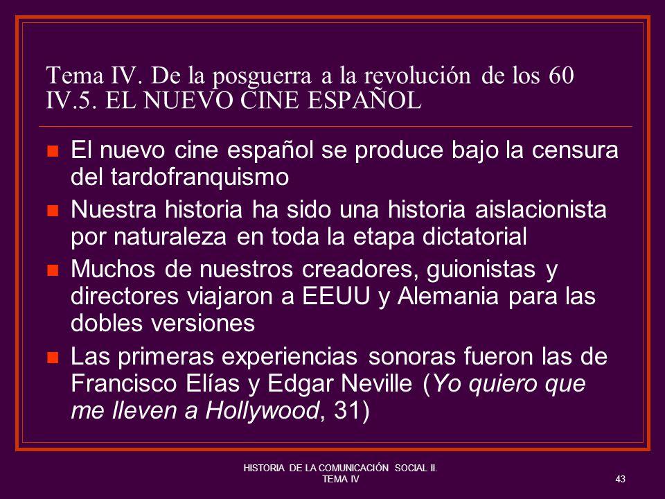 HISTORIA DE LA COMUNICACIÓN SOCIAL II. TEMA IV43 Tema IV. De la posguerra a la revolución de los 60 IV.5. EL NUEVO CINE ESPAÑOL El nuevo cine español