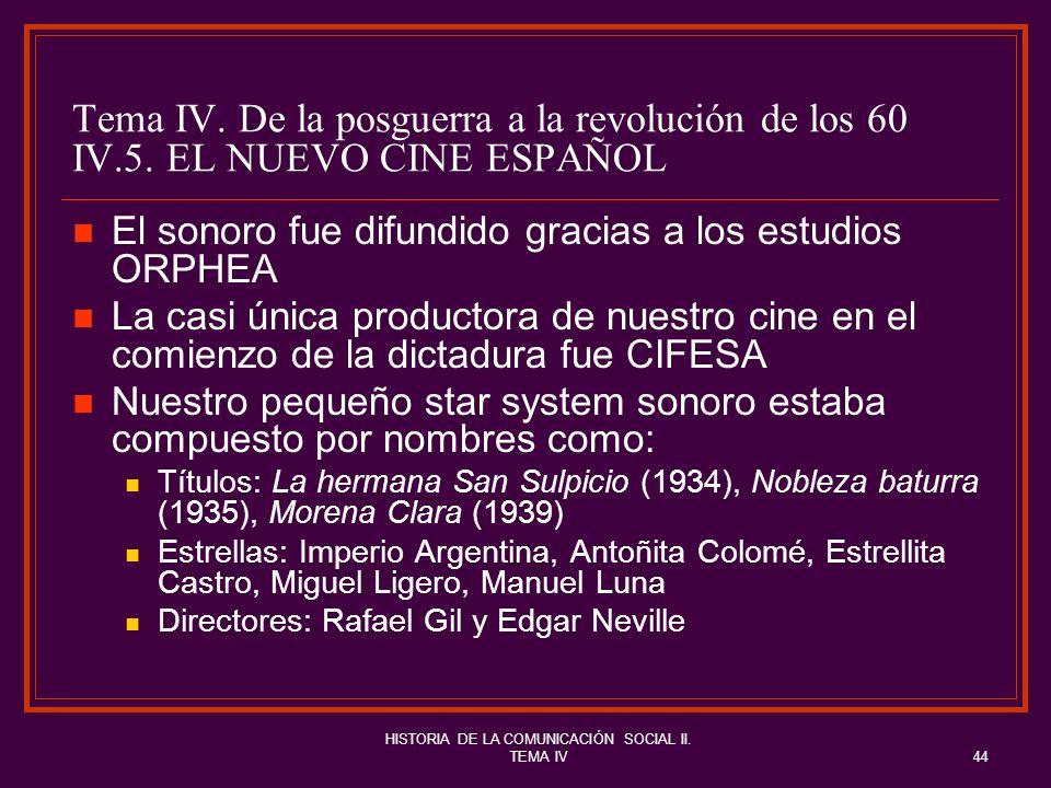 HISTORIA DE LA COMUNICACIÓN SOCIAL II. TEMA IV44 Tema IV. De la posguerra a la revolución de los 60 IV.5. EL NUEVO CINE ESPAÑOL El sonoro fue difundid