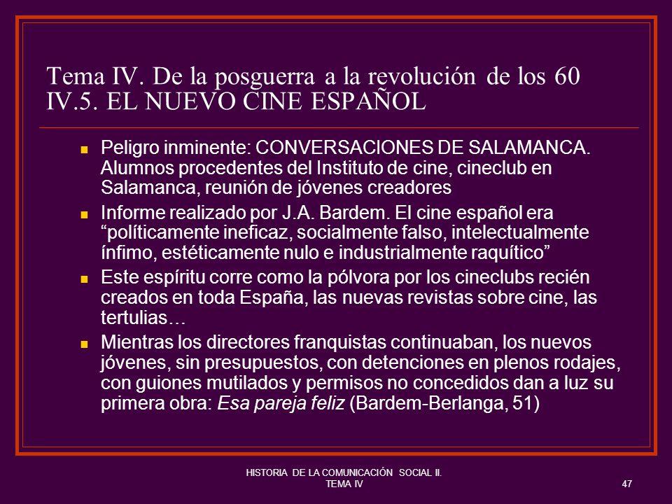 HISTORIA DE LA COMUNICACIÓN SOCIAL II. TEMA IV47 Tema IV. De la posguerra a la revolución de los 60 IV.5. EL NUEVO CINE ESPAÑOL Peligro inminente: CON