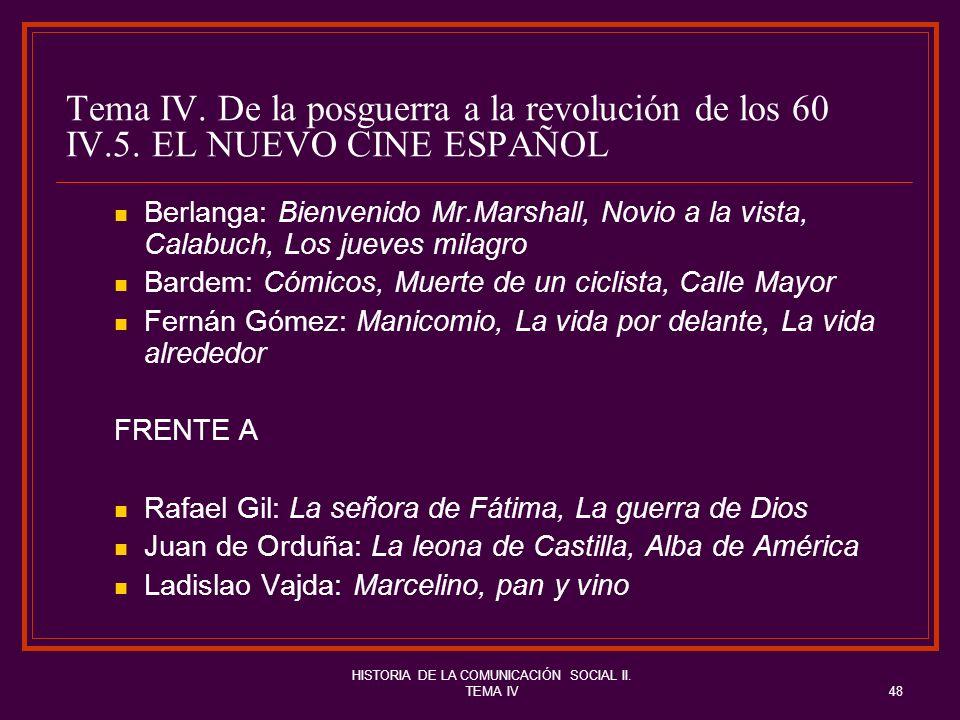 HISTORIA DE LA COMUNICACIÓN SOCIAL II. TEMA IV48 Tema IV. De la posguerra a la revolución de los 60 IV.5. EL NUEVO CINE ESPAÑOL Berlanga: Bienvenido M