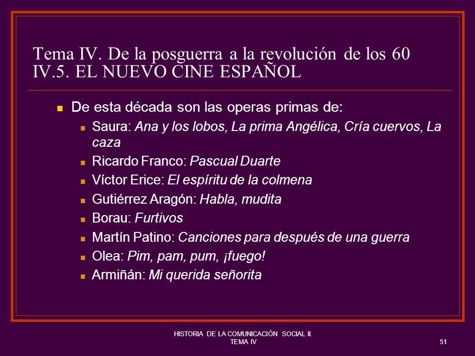 HISTORIA DE LA COMUNICACIÓN SOCIAL II. TEMA IV51 Tema IV. De la posguerra a la revolución de los 60 IV.5. EL NUEVO CINE ESPAÑOL De esta década son las