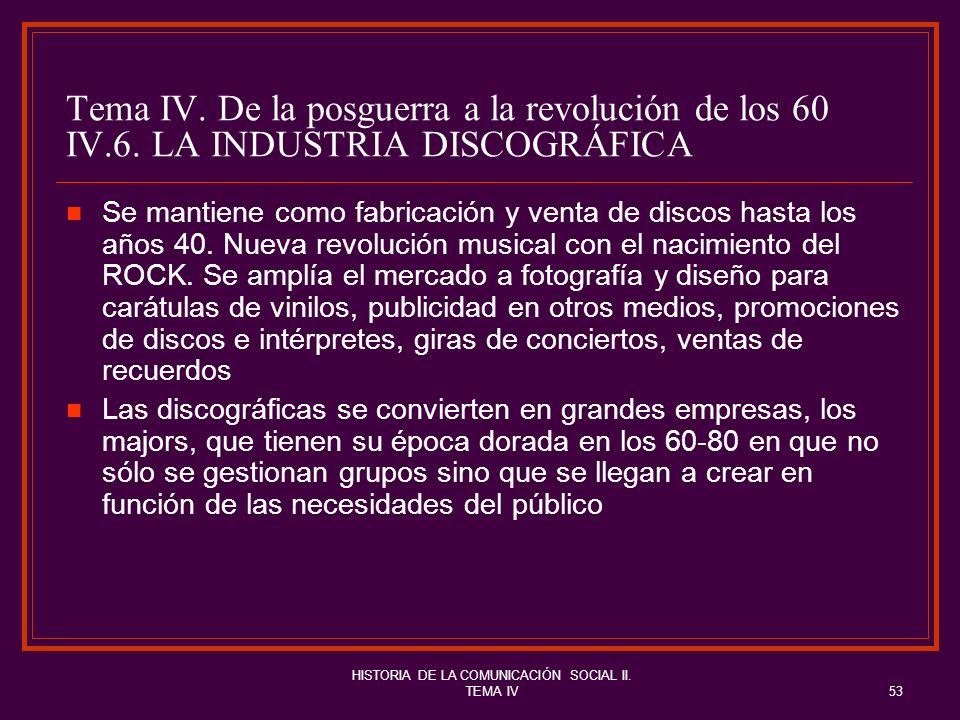 HISTORIA DE LA COMUNICACIÓN SOCIAL II. TEMA IV53 Tema IV. De la posguerra a la revolución de los 60 IV.6. LA INDUSTRIA DISCOGRÁFICA Se mantiene como f