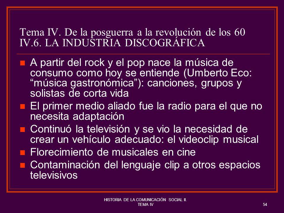 HISTORIA DE LA COMUNICACIÓN SOCIAL II. TEMA IV54 Tema IV. De la posguerra a la revolución de los 60 IV.6. LA INDUSTRIA DISCOGRÁFICA A partir del rock