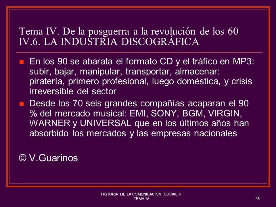 HISTORIA DE LA COMUNICACIÓN SOCIAL II. TEMA IV56 Tema IV. De la posguerra a la revolución de los 60 IV.6. LA INDUSTRIA DISCOGRÁFICA En los 90 se abara