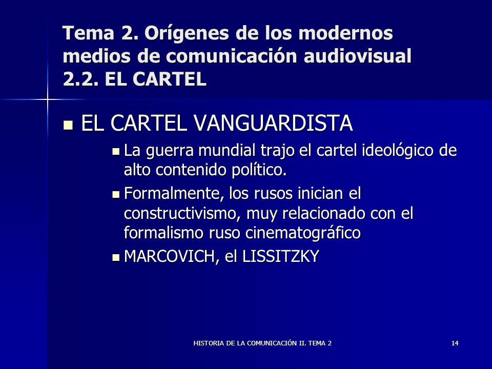 HISTORIA DE LA COMUNICACIÓN II. TEMA 214 Tema 2. Orígenes de los modernos medios de comunicación audiovisual 2.2. EL CARTEL EL CARTEL VANGUARDISTA EL