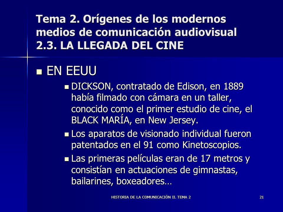 HISTORIA DE LA COMUNICACIÓN II. TEMA 221 Tema 2. Orígenes de los modernos medios de comunicación audiovisual 2.3. LA LLEGADA DEL CINE EN EEUU EN EEUU