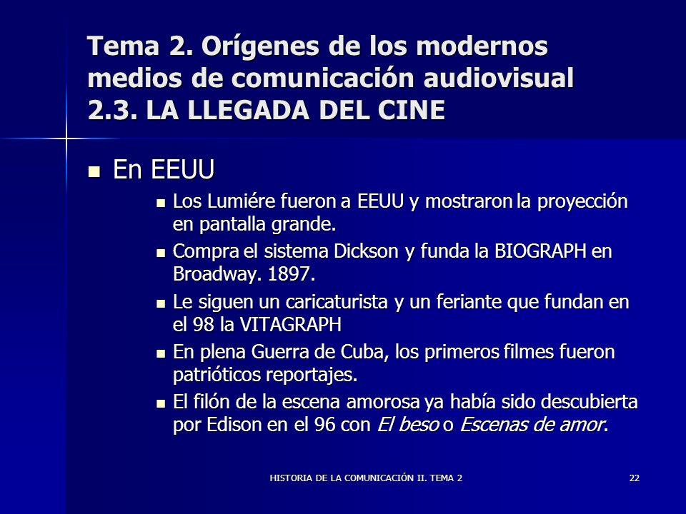 HISTORIA DE LA COMUNICACIÓN II. TEMA 222 Tema 2. Orígenes de los modernos medios de comunicación audiovisual 2.3. LA LLEGADA DEL CINE En EEUU En EEUU