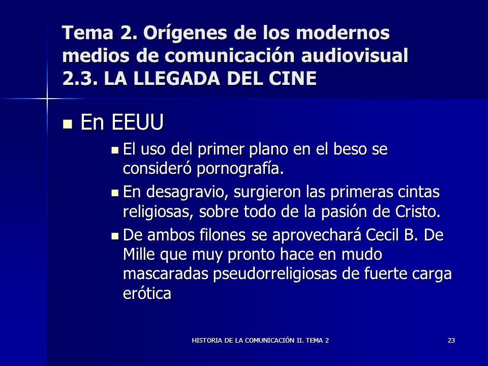 HISTORIA DE LA COMUNICACIÓN II. TEMA 223 Tema 2. Orígenes de los modernos medios de comunicación audiovisual 2.3. LA LLEGADA DEL CINE En EEUU En EEUU