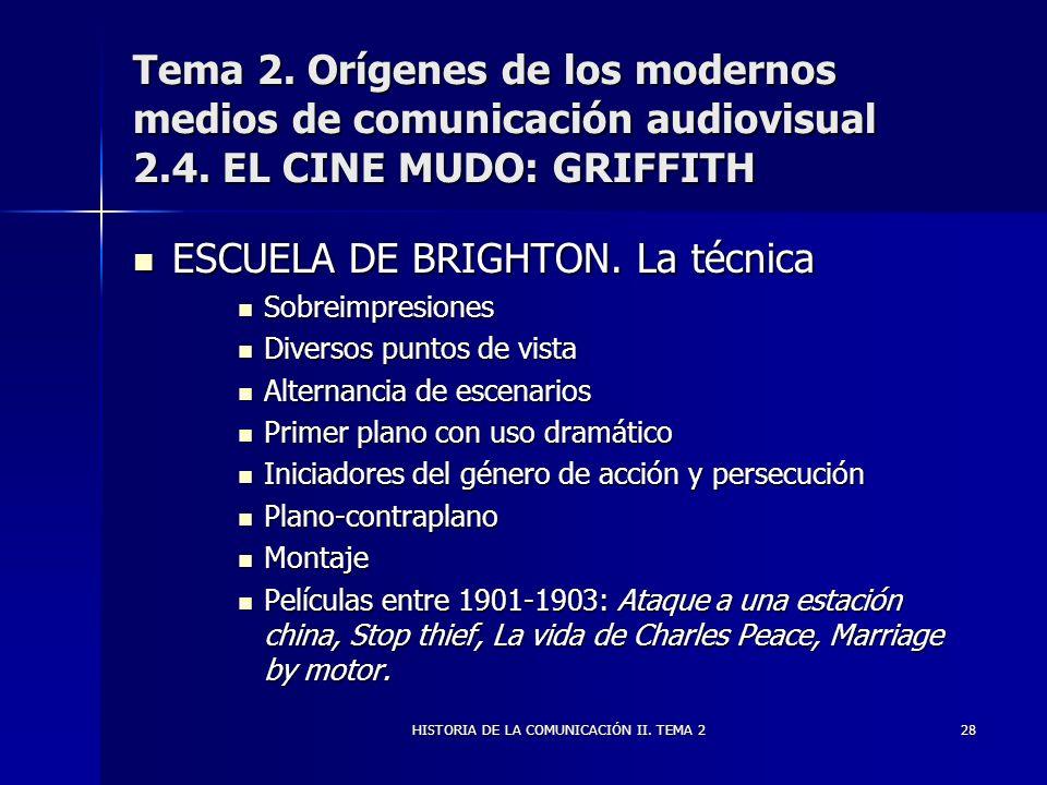HISTORIA DE LA COMUNICACIÓN II. TEMA 228 Tema 2. Orígenes de los modernos medios de comunicación audiovisual 2.4. EL CINE MUDO: GRIFFITH ESCUELA DE BR