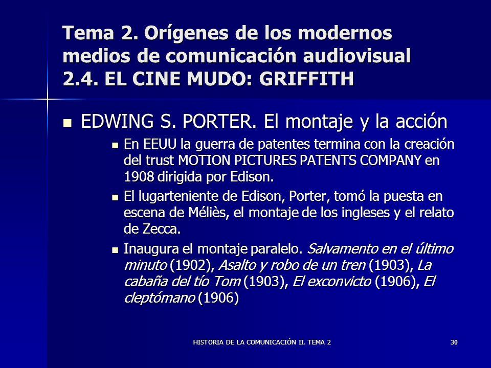 HISTORIA DE LA COMUNICACIÓN II. TEMA 230 Tema 2. Orígenes de los modernos medios de comunicación audiovisual 2.4. EL CINE MUDO: GRIFFITH EDWING S. POR
