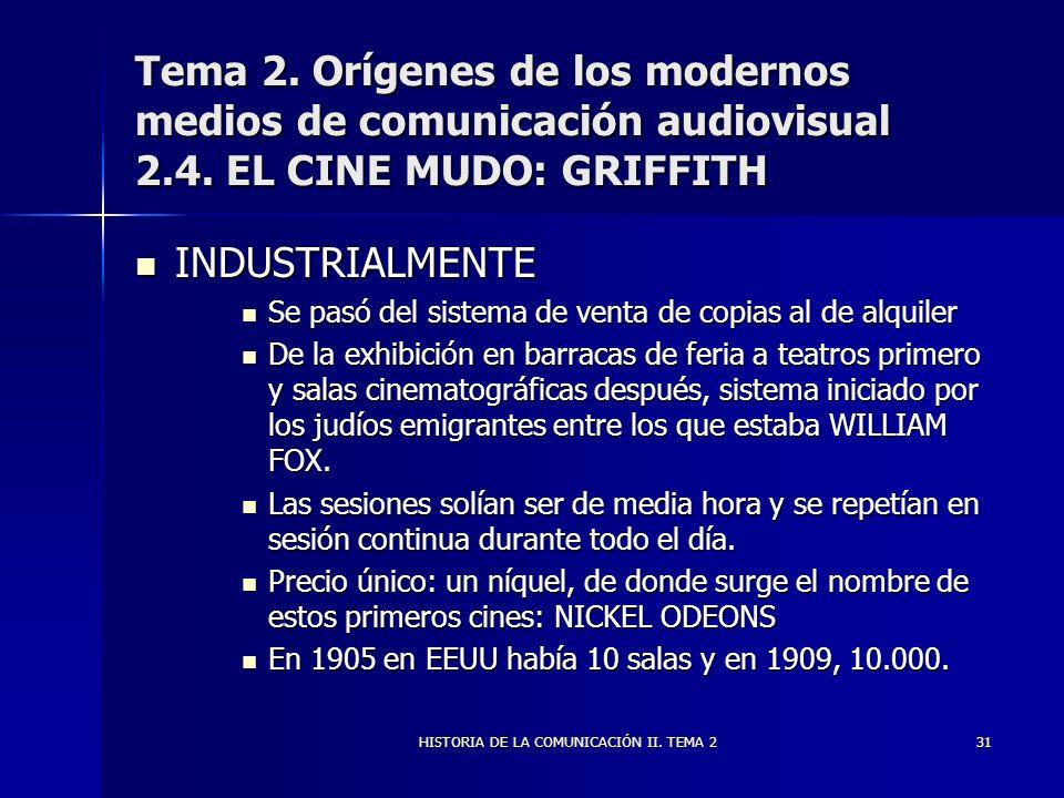 HISTORIA DE LA COMUNICACIÓN II. TEMA 231 Tema 2. Orígenes de los modernos medios de comunicación audiovisual 2.4. EL CINE MUDO: GRIFFITH INDUSTRIALMEN