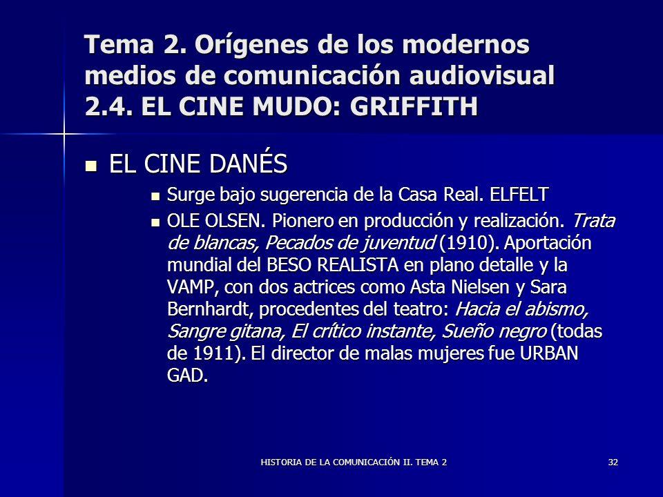 HISTORIA DE LA COMUNICACIÓN II. TEMA 232 Tema 2. Orígenes de los modernos medios de comunicación audiovisual 2.4. EL CINE MUDO: GRIFFITH EL CINE DANÉS