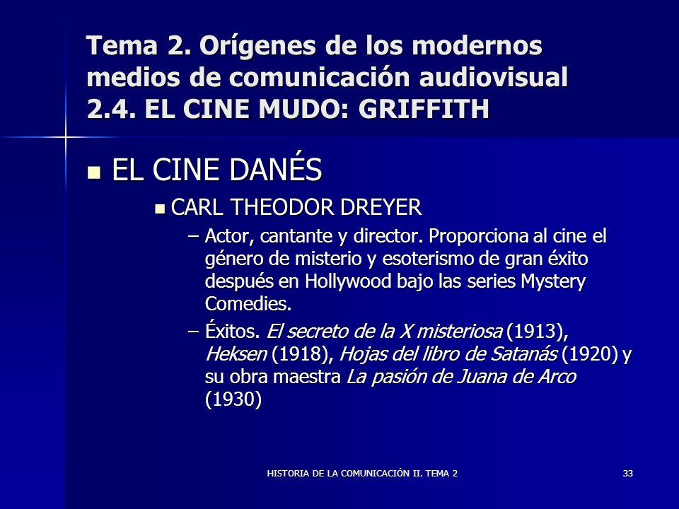 HISTORIA DE LA COMUNICACIÓN II. TEMA 233 Tema 2. Orígenes de los modernos medios de comunicación audiovisual 2.4. EL CINE MUDO: GRIFFITH EL CINE DANÉS