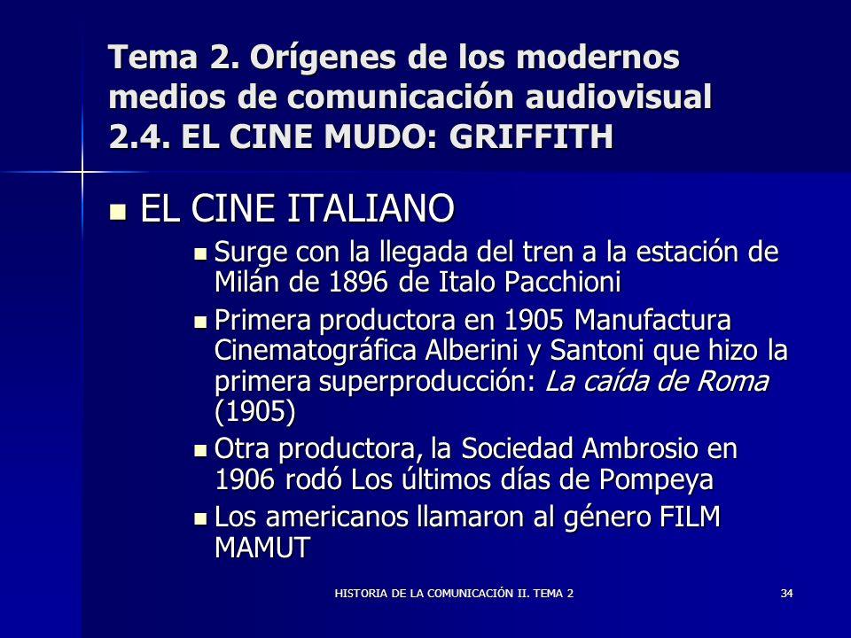 HISTORIA DE LA COMUNICACIÓN II. TEMA 234 Tema 2. Orígenes de los modernos medios de comunicación audiovisual 2.4. EL CINE MUDO: GRIFFITH EL CINE ITALI
