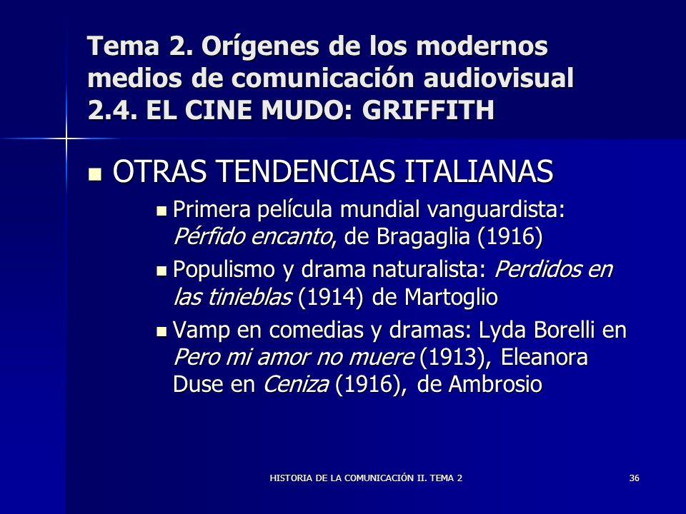 HISTORIA DE LA COMUNICACIÓN II. TEMA 236 Tema 2. Orígenes de los modernos medios de comunicación audiovisual 2.4. EL CINE MUDO: GRIFFITH OTRAS TENDENC