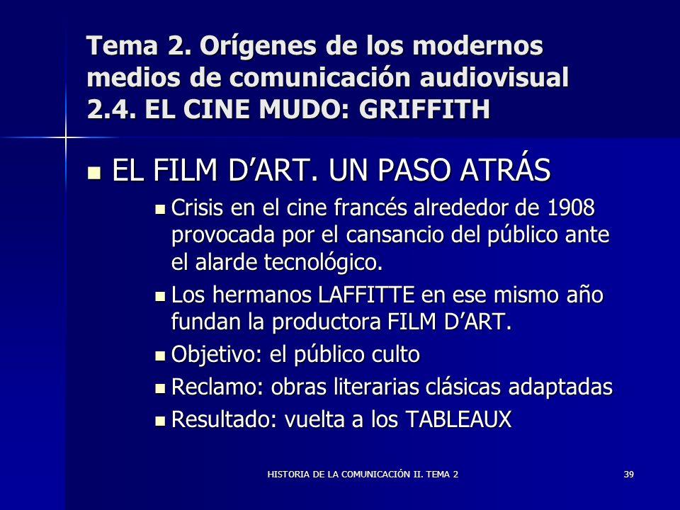 HISTORIA DE LA COMUNICACIÓN II. TEMA 239 Tema 2. Orígenes de los modernos medios de comunicación audiovisual 2.4. EL CINE MUDO: GRIFFITH EL FILM DART.