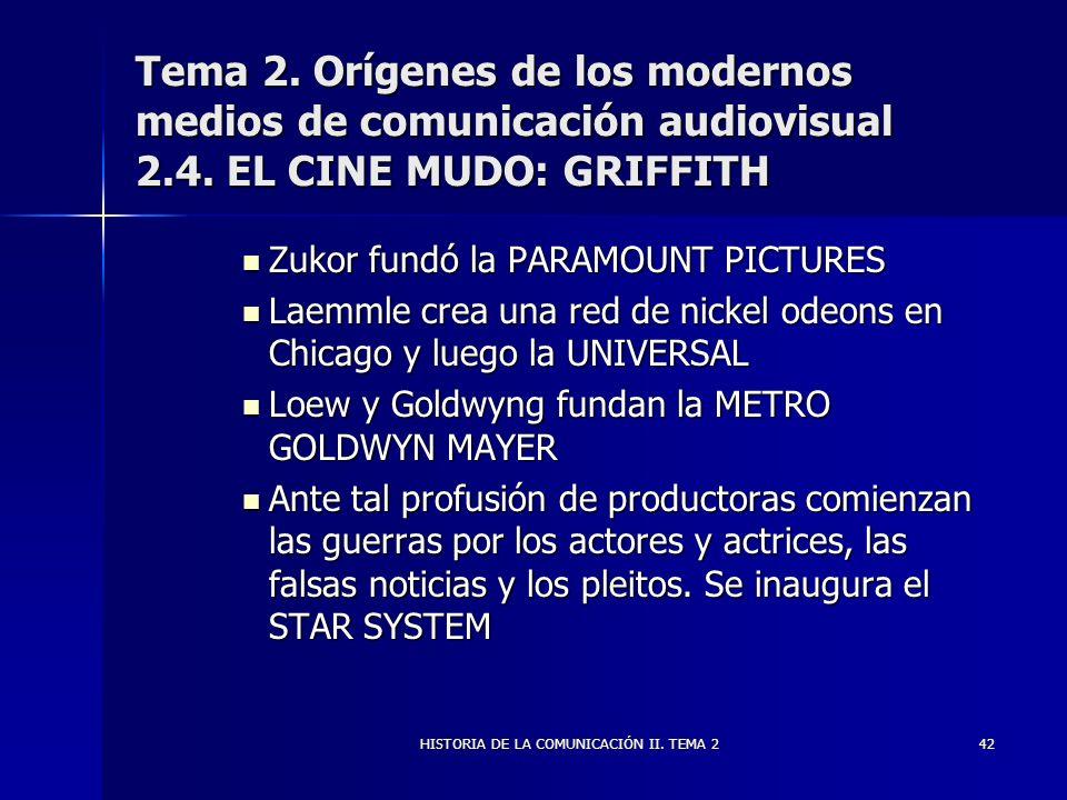 HISTORIA DE LA COMUNICACIÓN II. TEMA 242 Tema 2. Orígenes de los modernos medios de comunicación audiovisual 2.4. EL CINE MUDO: GRIFFITH Zukor fundó l