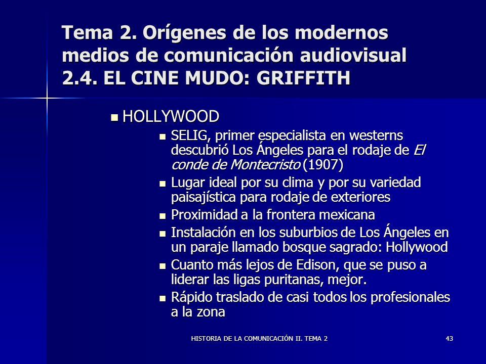 HISTORIA DE LA COMUNICACIÓN II. TEMA 243 Tema 2. Orígenes de los modernos medios de comunicación audiovisual 2.4. EL CINE MUDO: GRIFFITH HOLLYWOOD HOL