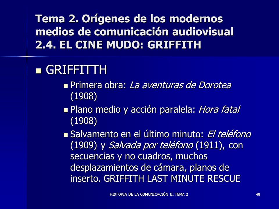 HISTORIA DE LA COMUNICACIÓN II. TEMA 248 Tema 2. Orígenes de los modernos medios de comunicación audiovisual 2.4. EL CINE MUDO: GRIFFITH GRIFFITTH GRI