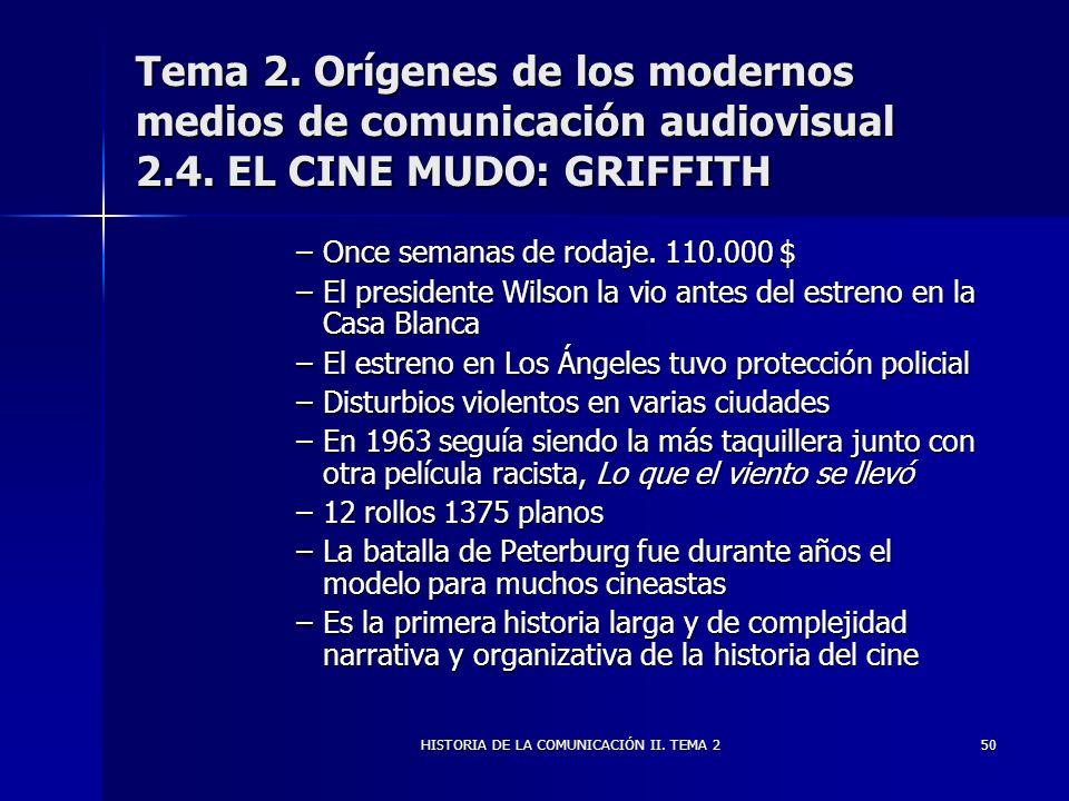 HISTORIA DE LA COMUNICACIÓN II. TEMA 250 Tema 2. Orígenes de los modernos medios de comunicación audiovisual 2.4. EL CINE MUDO: GRIFFITH –Once semanas