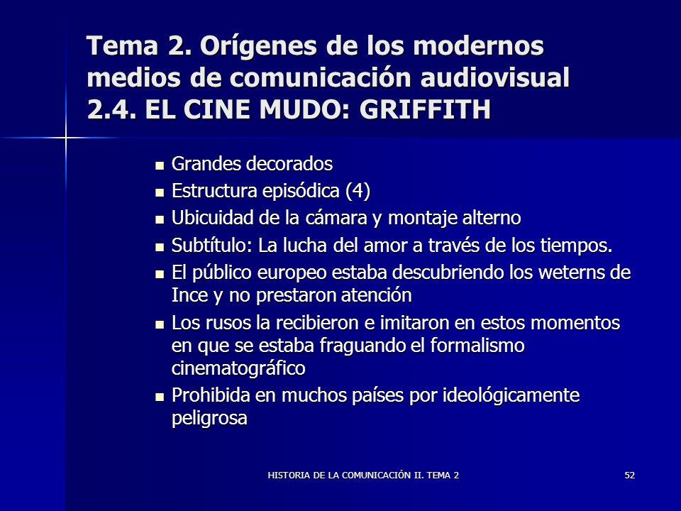 HISTORIA DE LA COMUNICACIÓN II. TEMA 252 Tema 2. Orígenes de los modernos medios de comunicación audiovisual 2.4. EL CINE MUDO: GRIFFITH Grandes decor