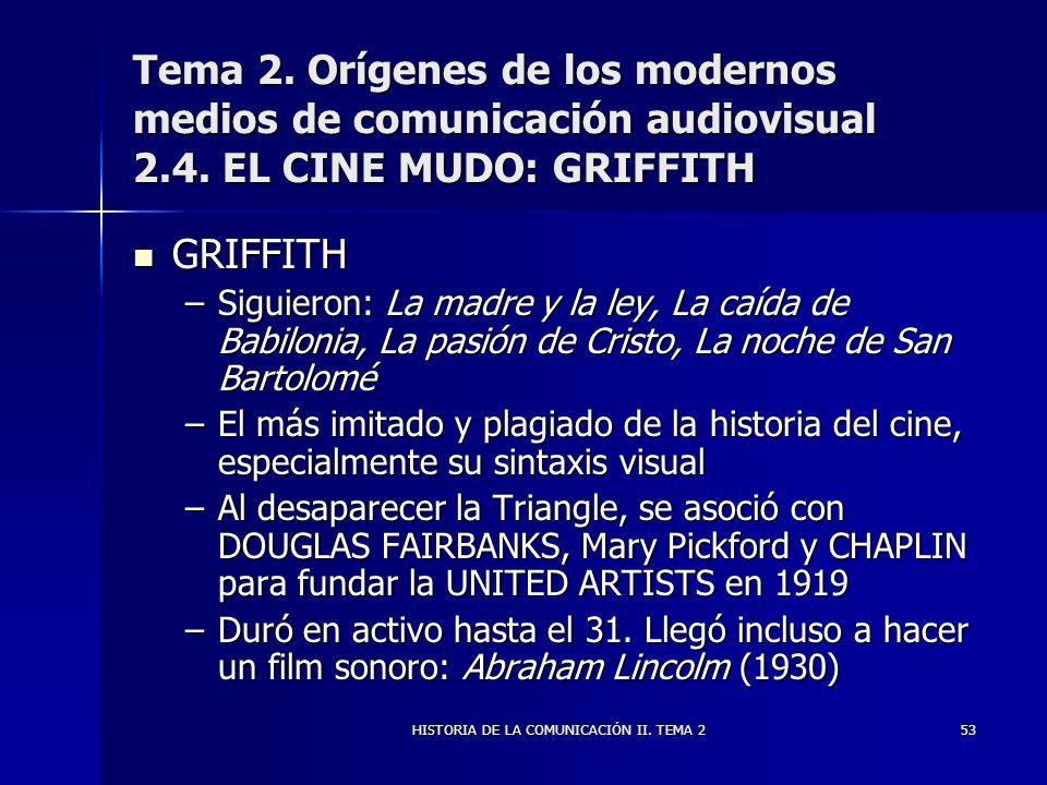 HISTORIA DE LA COMUNICACIÓN II. TEMA 253 Tema 2. Orígenes de los modernos medios de comunicación audiovisual 2.4. EL CINE MUDO: GRIFFITH GRIFFITH GRIF