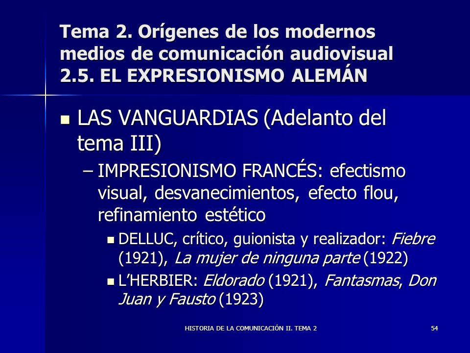 HISTORIA DE LA COMUNICACIÓN II. TEMA 254 Tema 2. Orígenes de los modernos medios de comunicación audiovisual 2.5. EL EXPRESIONISMO ALEMÁN LAS VANGUARD