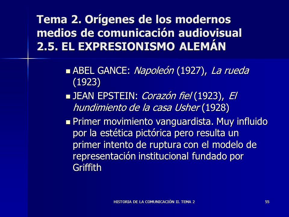 HISTORIA DE LA COMUNICACIÓN II. TEMA 255 Tema 2. Orígenes de los modernos medios de comunicación audiovisual 2.5. EL EXPRESIONISMO ALEMÁN ABEL GANCE: