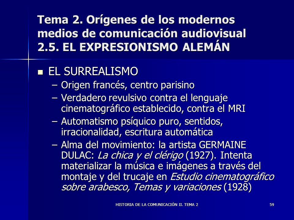 HISTORIA DE LA COMUNICACIÓN II. TEMA 259 Tema 2. Orígenes de los modernos medios de comunicación audiovisual 2.5. EL EXPRESIONISMO ALEMÁN EL SURREALIS
