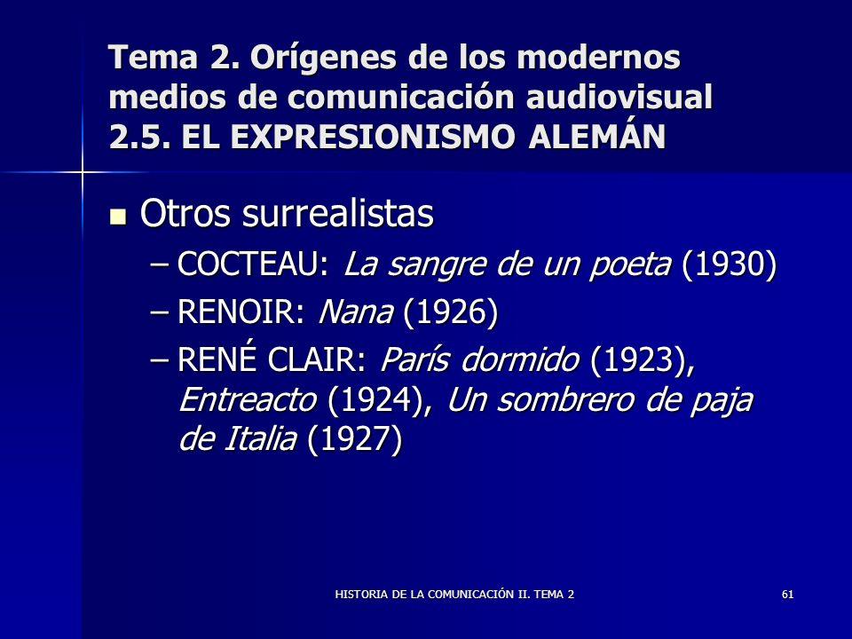 HISTORIA DE LA COMUNICACIÓN II. TEMA 261 Tema 2. Orígenes de los modernos medios de comunicación audiovisual 2.5. EL EXPRESIONISMO ALEMÁN Otros surrea