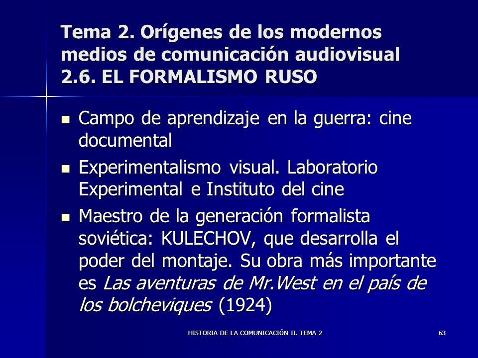 HISTORIA DE LA COMUNICACIÓN II. TEMA 263 Tema 2. Orígenes de los modernos medios de comunicación audiovisual 2.6. EL FORMALISMO RUSO Campo de aprendiz