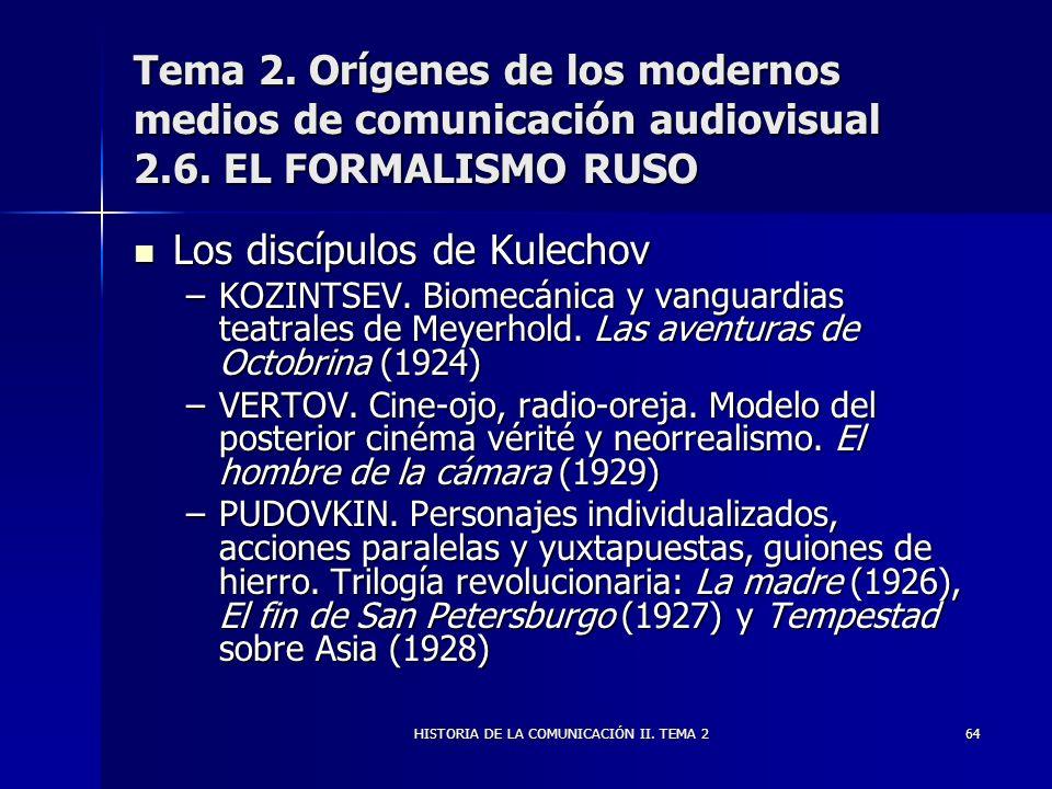 HISTORIA DE LA COMUNICACIÓN II. TEMA 264 Tema 2. Orígenes de los modernos medios de comunicación audiovisual 2.6. EL FORMALISMO RUSO Los discípulos de