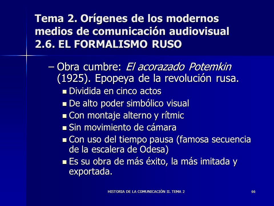 HISTORIA DE LA COMUNICACIÓN II. TEMA 266 Tema 2. Orígenes de los modernos medios de comunicación audiovisual 2.6. EL FORMALISMO RUSO –Obra cumbre: El