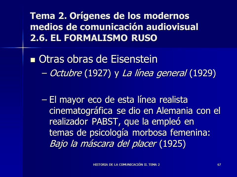 HISTORIA DE LA COMUNICACIÓN II. TEMA 267 Tema 2. Orígenes de los modernos medios de comunicación audiovisual 2.6. EL FORMALISMO RUSO Otras obras de Ei