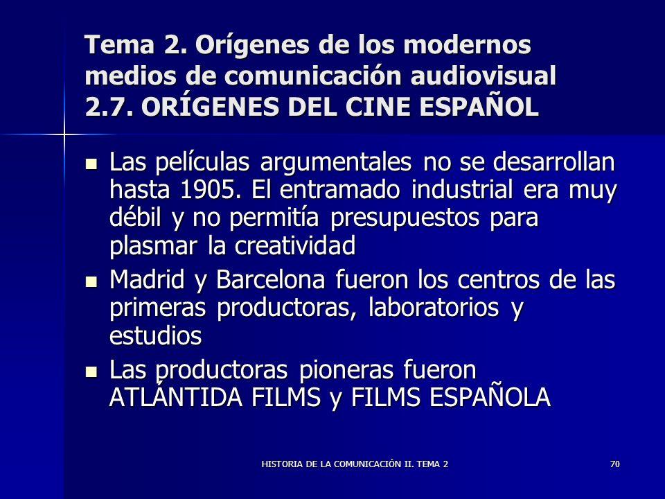 HISTORIA DE LA COMUNICACIÓN II. TEMA 270 Tema 2. Orígenes de los modernos medios de comunicación audiovisual 2.7. ORÍGENES DEL CINE ESPAÑOL Las pelícu