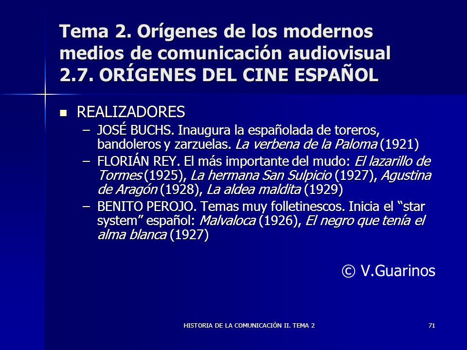 HISTORIA DE LA COMUNICACIÓN II. TEMA 271 Tema 2. Orígenes de los modernos medios de comunicación audiovisual 2.7. ORÍGENES DEL CINE ESPAÑOL REALIZADOR