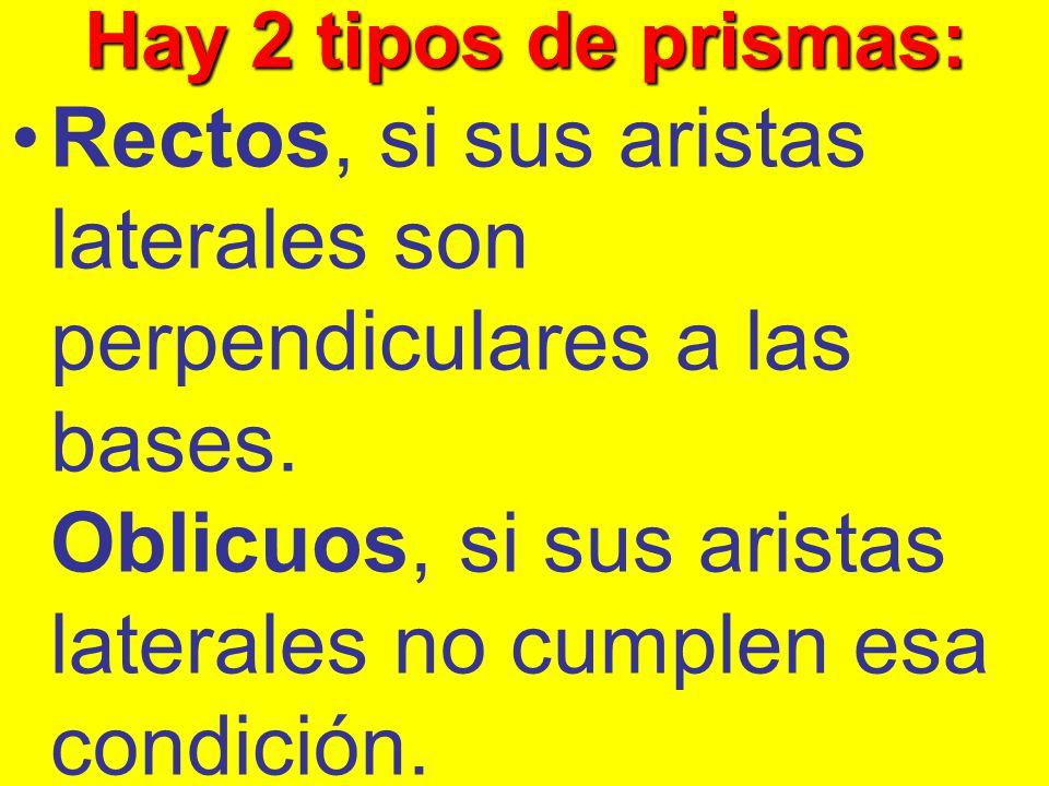 Hay 2 tipos de prismas: Rectos, si sus aristas laterales son perpendiculares a las bases. Oblicuos, si sus aristas laterales no cumplen esa condición.