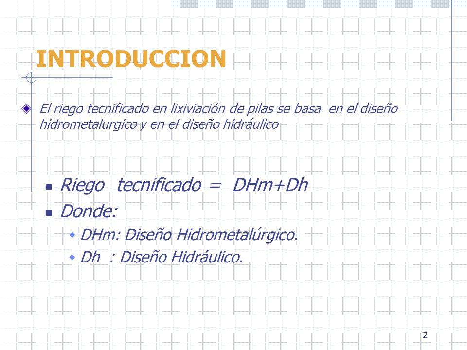 2 INTRODUCCION El riego tecnificado en lixiviación de pilas se basa en el diseño hidrometalurgico y en el diseño hidráulico Riego tecnificado = DHm+Dh