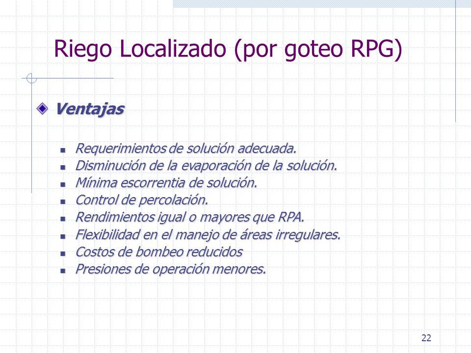 22 Riego Localizado (por goteo RPG) Ventajas Requerimientos de solución adecuada. Requerimientos de solución adecuada. Disminución de la evaporación d