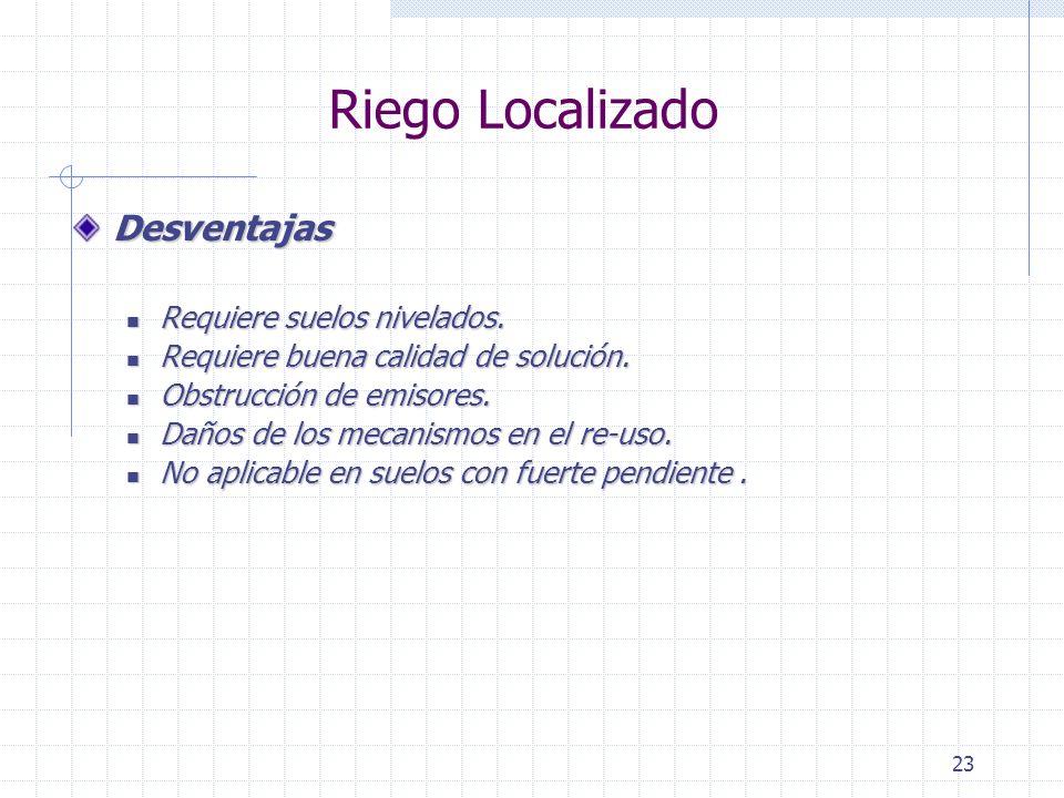 23 Riego Localizado Desventajas Requiere suelos nivelados. Requiere suelos nivelados. Requiere buena calidad de solución. Requiere buena calidad de so