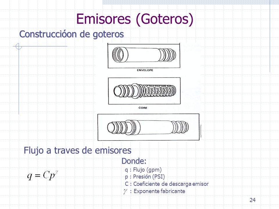 24 Construccióon de goteros Emisores (Goteros) Flujo a traves de emisores Donde: q : Flujo (gpm) p : Presión (PSI) C : Coeficiente de descarga emisor