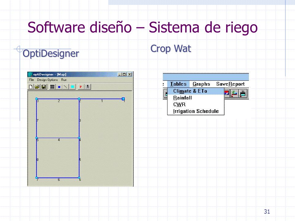 31 Software diseño – Sistema de riego OptiDesigner Crop Wat