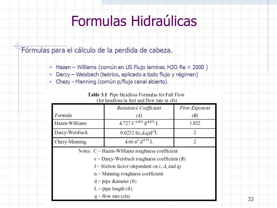 33 Formulas Hidraúlicas Fórmulas para el cálculo de la perdida de cabeza. Hazen – Williams (común en US Flujo laminar, H2O Re < 2000 ) Hazen – William