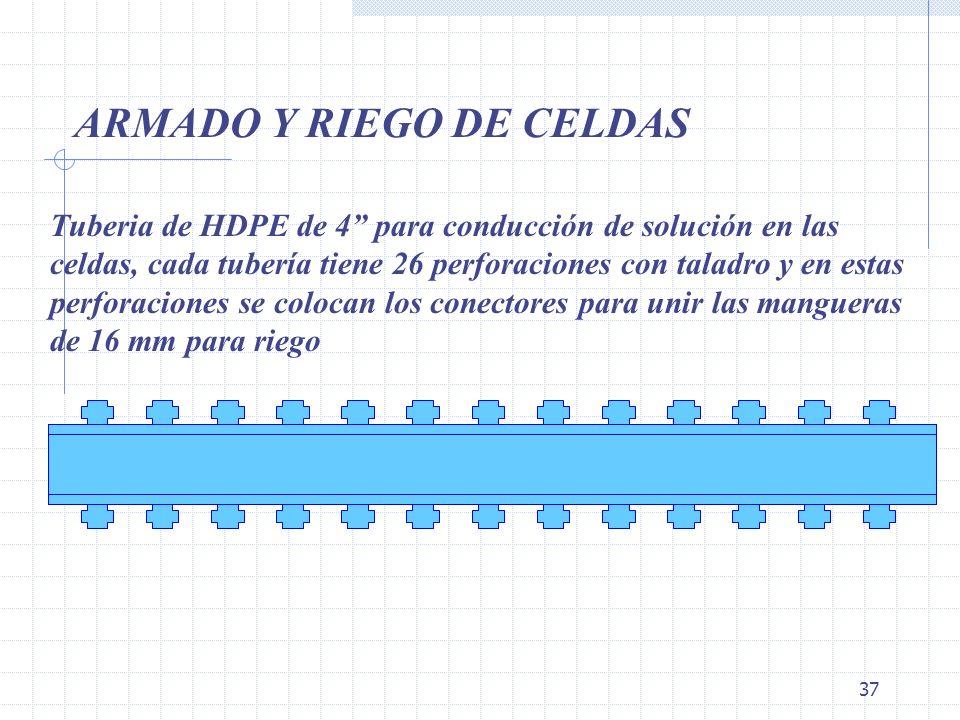 37 ARMADO Y RIEGO DE CELDAS Tuberia de HDPE de 4 para conducción de solución en las celdas, cada tubería tiene 26 perforaciones con taladro y en estas