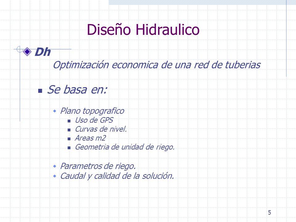 6 Diseño Hidraulico Dh Determina Distribución de lineas de solución Dimensionamiento de lineas Línea Primaria Línea secundaria Laterales Condiciones límites del sistema El Dh provee datos : Diametro Presiones Caudales