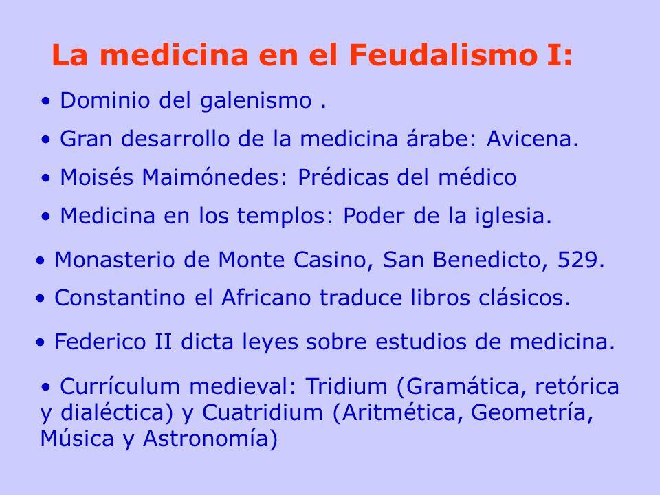 La medicina en el Feudalismo I: Dominio del galenismo. Gran desarrollo de la medicina árabe: Avicena. Moisés Maimónedes: Prédicas del médico Medicina