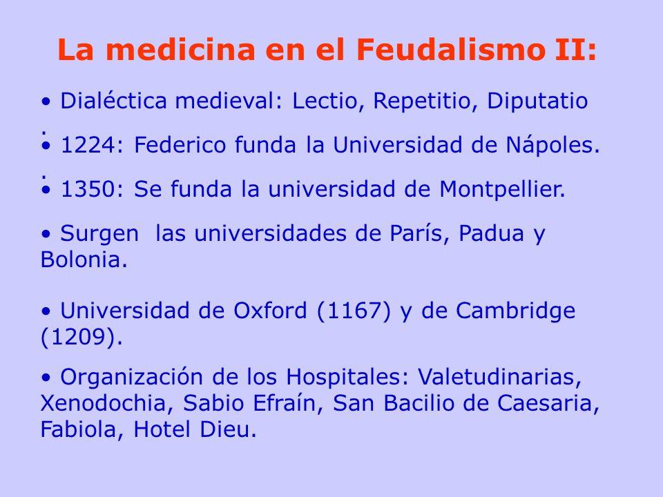 La medicina en el Feudalismo II: Dialéctica medieval: Lectio, Repetitio, Diputatio. 1224: Federico funda la Universidad de Nápoles.. 1350: Se funda la