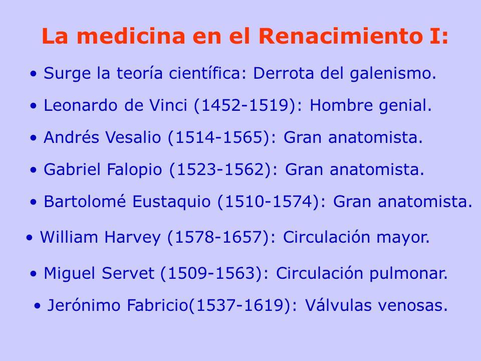 La medicina en el Renacimiento I: Surge la teoría científica: Derrota del galenismo. Leonardo de Vinci (1452-1519): Hombre genial. Andrés Vesalio (151